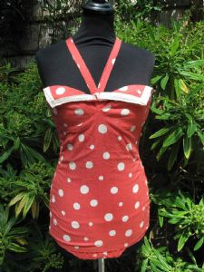 1950's Coral and white polka dot swimsuit **SOLD**